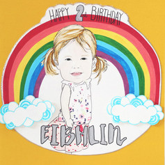 Girl Birthday Card - Rainbow