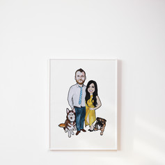 Family Watercolour Illustration with Pets