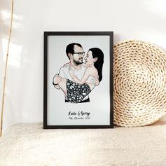 Cute Engaged Couple Illustration