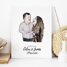 Cute Engagement Portrait Illustration