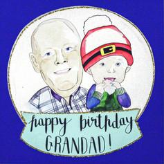 Happy Birthday Grandad Portrait Card