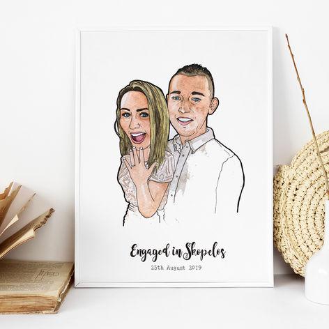 Engaged in Skopelos Illustration