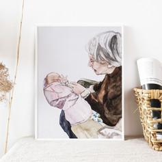 Grandmother Watercolour Portrait