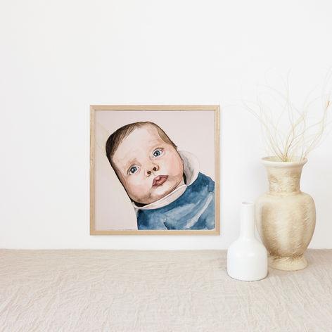 Baby Boy Watercolour Portrait