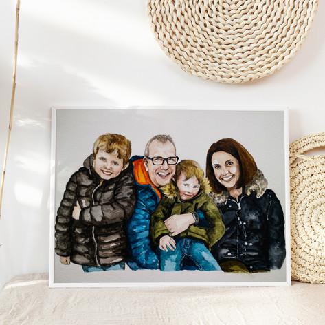 Family of 4 Watercolour Portrait