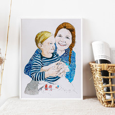 Grandmother and Grandson Watercolour Portrait