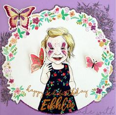 Girl Birthday Card - Butterflies