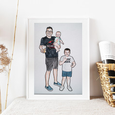 Father and Sons Watercolour Illustration
