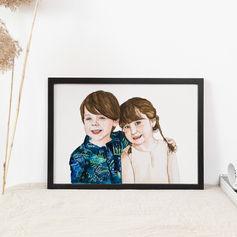 Siblings Watercolour Painting