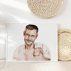 Dad & Baby Portrait in Watercolour