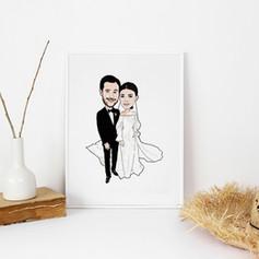 Wedding Anniversary Portrait Illustration
