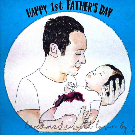 Happy 1st Father's Day Portrait Card