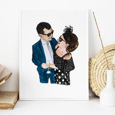 Engagement Gift Portrait Illustration