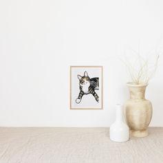 Stripy Cat Watercolour Portrait