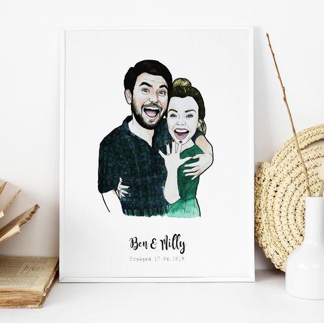 Cute Engagement Illustration