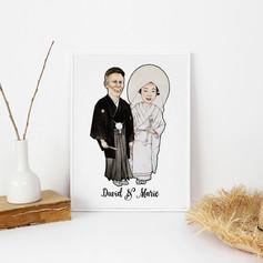Traditional Japanese Wedding Illustration