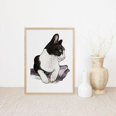 Cat Watercolour Portrait