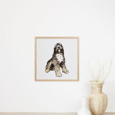 Fluffy Dog Watercolour Portrait