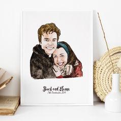 Engagement Couple Illustration