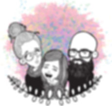 family of 3 rainbow portrait cartoon - C