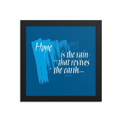 Hope Calligraphy Quote Designer Blue Framed Poster