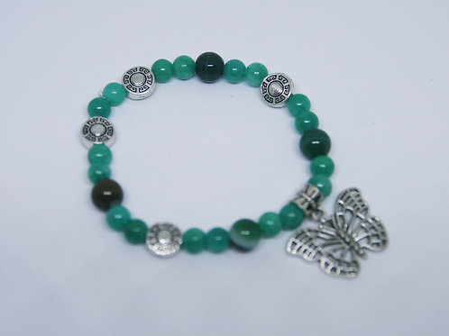 Malaysian Jade with Tibetan Silver Beads and Butterfly Bracelet