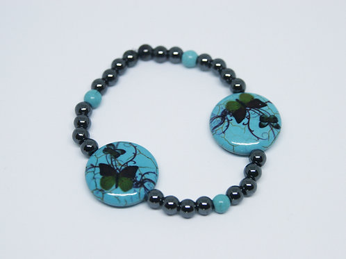 Hematite with Ceramic Turquoise Beads & Butterflies Bracelet