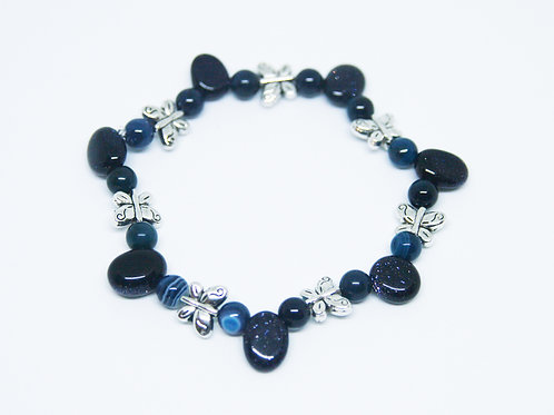 Blue Goldstone & Blue Striped Agate Bracelet
