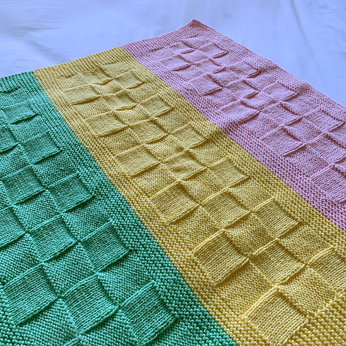 Tri-Colour Pastel Green Pink and Yellow Blanket