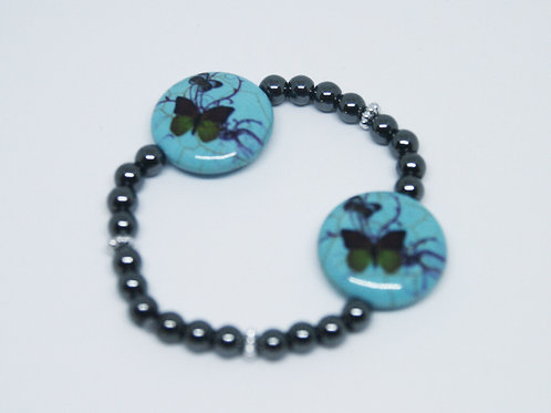 Hematite with Ceramic Turquoise Butterflies Bracelet