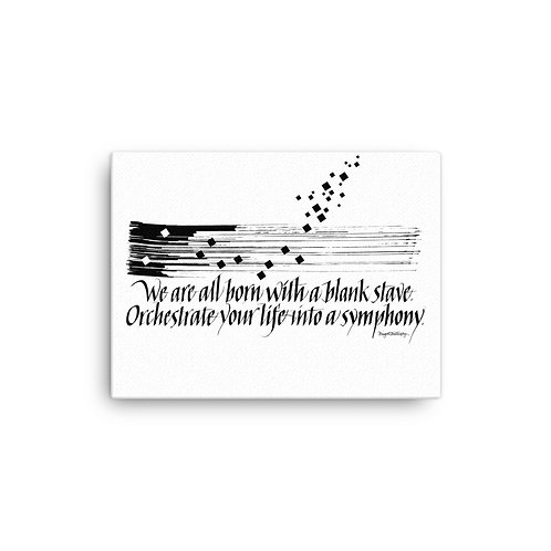 Black and White Music Symphony Quote Canvas