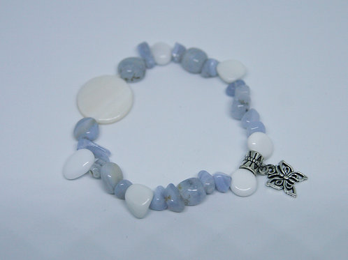 Howlite and Blue Lace Agate Butterfly Bracelet