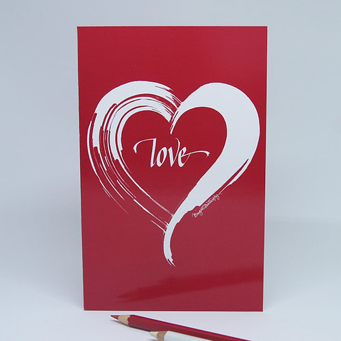 Love heart red card front view