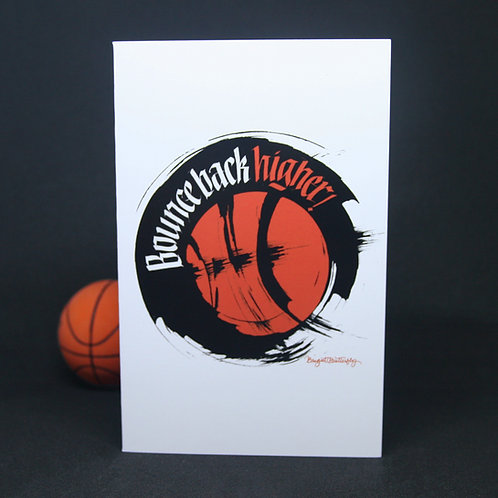Bounce Back Higher Resilience Motivation Card Front View