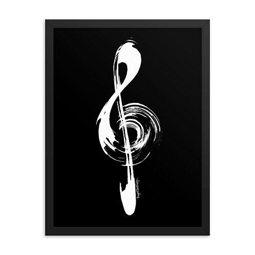 White and Black Music Treble Clef Framed Poster