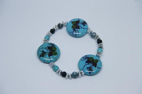 Triple Charm Butterfly Ceramic Bracelet