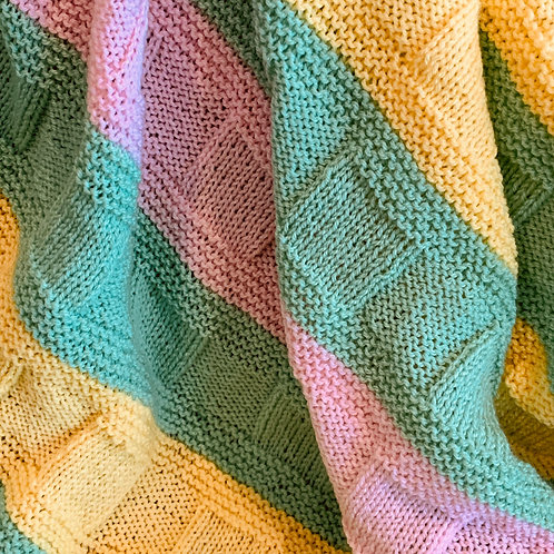 Striped Yellow Green and Pink Pastel Blanket