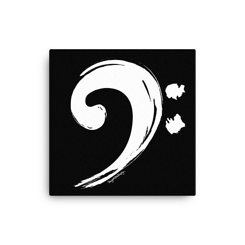 White and Black Music Bass Clef Canvas