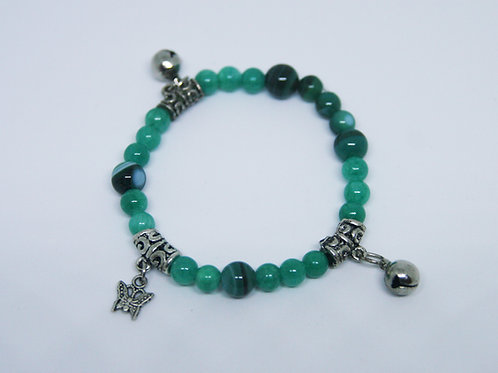 Malaysian Jade with Bells and Butterfly Charms Bracelet