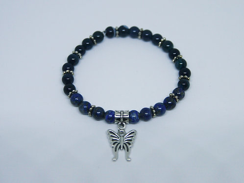 Lapis Lazuli and Cadet Blue Agate Butterfly Bracelet