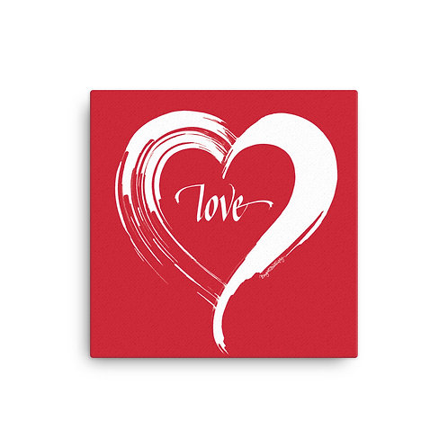 White and Red Love Heart Canvas