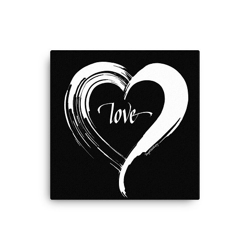 White and Black Love Heart Canvas