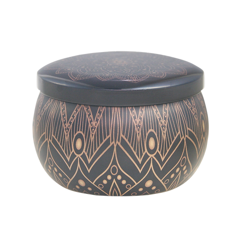 Black and Gold Sandalwood Scented Candle Tin