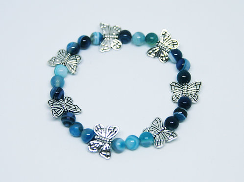 Flying Butterflies Blue Striped Agate Bracelet