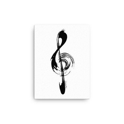 Black and White Music Treble Clef Canvas