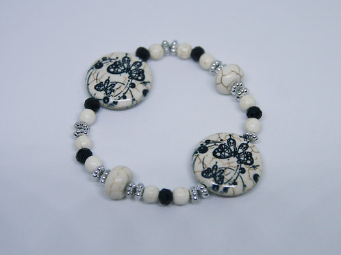 Double Charm Black and White Magnesite Butterfly Bracelet