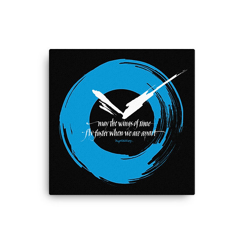 Wings of Time Blue Clock Love Canvas