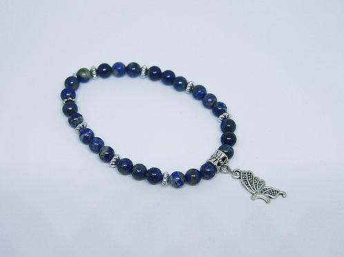 Lapis Lazuli Side Butterfly Bracelet