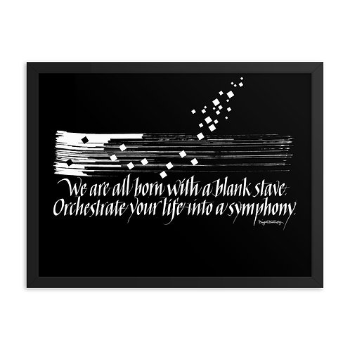 White and Black Music Symphony Quote Framed Poster