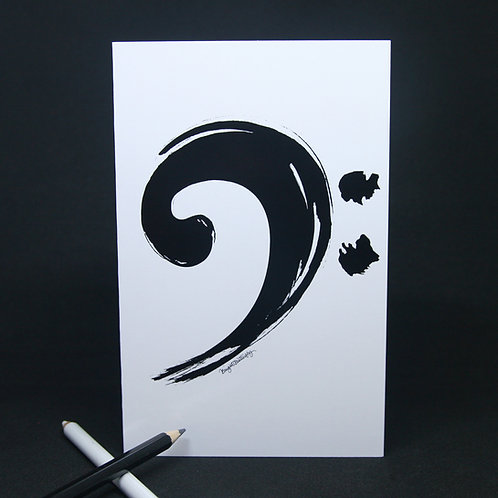 Bass clef black and white music greeting card front view
